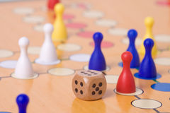 Board game with color pawns Royalty Free Stock Photography