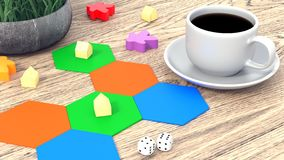 Board game, figures and dice. A cup of coffee on a wooden table. 3D illustrations vector illustration