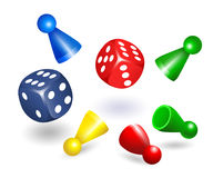 Board game figures with dice  Set of different flying leisure game pawn figures. Vector illustration isolated on white background Royalty Free Stock Photography