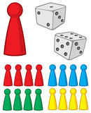 Board game figures with dices. Vector illustration Royalty Free Stock Photography