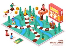 Board Game Isometric Composition. With people including kids and adults, desktop field, figures, cards, dice vector illustration Royalty Free Stock Photo