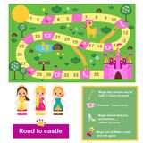 Board game for kids. Actvity for girls. Fairy tales theme, help princeess find way to castle. Printable map with figures vector illustration