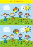 Board game for kids, find five differences. Vector Image. Children play on a meadow with a ball. Summer games in nature Stock Images