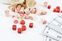 Board game lotto. On white background, lottery Royalty Free Stock Images
