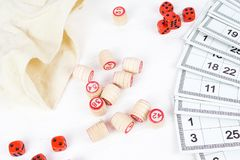 Board game lotto. On white background, lottery Stock Photos