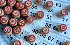 Board game lotto with cards and wooden kegs royalty free stock photos