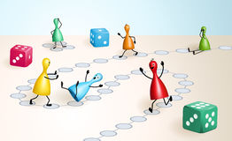 Board game with ludo figures and dices. Board game with dices and ludo figures, that behave well or badly like real people vector illustration