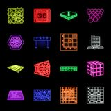 Board game neon icons in set collection for design. Game and entertainment vector symbol stock web illustration. stock illustration