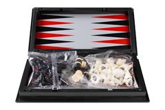 Board game, new universal set - backgammon, checkers and chess, packed, on a white background. Isolate stock photography