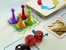 Board game. Pawns, dices and cards on boardgame table Royalty Free Stock Photography