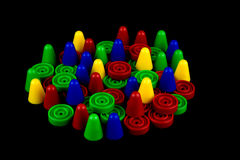 Board Game Pieces On Black Background Stock Images