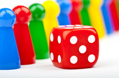Board Game Pieces and Dice Royalty Free Stock Photos
