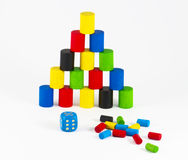 Board games. Pieces of board games with game cube Stock Image