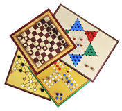 Board games. Various board games of ludo, halma, chess and fox and geese isolated on white Stock Image
