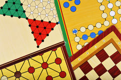 Board games. Various board games of ludo, halma, chess and fox and geese Stock Images