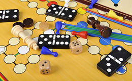 Board games. Various board games and many figurines background Stock Photography