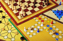 Board games. Various board games of ludo, halma, chess and fox and geese Stock Photography