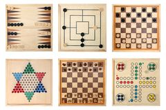 Board games. Backgammon, Nine Men's Morris,Draughts(checkers), Halma,Chess,Do not get angry Stock Photography
