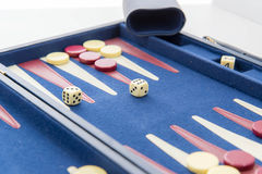 Board games - backgammon in play Royalty Free Stock Photo