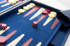 Board games - backgammon in play Royalty Free Stock Images