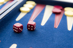 Board games - backgammon in play Royalty Free Stock Image