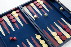 Board games - backgammon in play Stock Photography