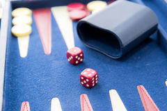 Board games - backgammon in play Stock Photos