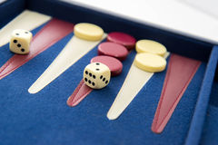 Board games - backgammon in play Stock Photo