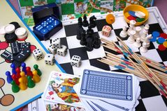 Board Games. A collection of several different board games royalty free stock images