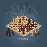 Board Games Composition. Colored board games composition with schemes planning in chess and headline at the bottom vector illustration stock illustration