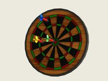 Board games darts with three darts of different colors Stock Image