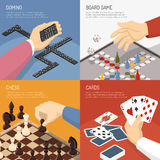 Board Games Design Concept. Four square colored board games design concept set with domino chess cards descriptions vector illustration royalty free illustration