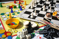 Board Games. File table games - chess, dominoes, ludo, dice, cards stock photo