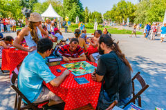 Board games in Museon Park of Arts of Moscow Stock Image