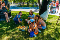 Board games in Museon Park of Arts of Moscow Royalty Free Stock Photography