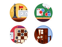 Board games set of icons Royalty Free Stock Images