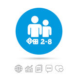 Board games sign icon. 2-8 players symbol. Board games sign icon. From two to eight players symbol. Dice sign. Copy files, chat speech bubble and chart web Royalty Free Stock Image