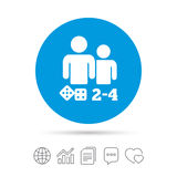 Board games sign icon. 2-4 players symbol. Board games sign icon. From two to four players symbol. Dice sign. Copy files, chat speech bubble and chart web icons Stock Photos