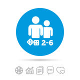 Board games sign icon. 2-6 players symbol. Board games sign icon. From two to six players symbol. Dice sign. Copy files, chat speech bubble and chart web icons Stock Photo