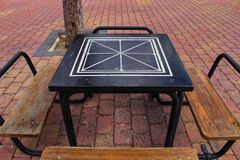 Board games on the street on wooden table stock photo