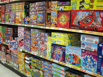 Board games in a toy store. Royalty Free Stock Photos