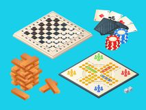 Board games. Vector isometric pictures of various boards games stock illustration