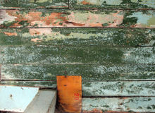 Board green. Old blue plywood Stock Photo