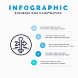 Board, Guide, Map, Map Pointer, Travel Line icon with 5 steps presentation infographics Background royalty free illustration