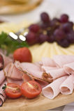 Board of ham and meat slices Royalty Free Stock Images