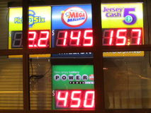 Board with high jack pots. Lottery sign with 450 Million Power Ball and 145 Million Mega Million jack pots in NJ. 2016, USA. Г. Stock Image