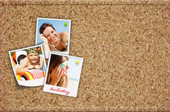 Board with holiday photos of happy joying people Royalty Free Stock Photo