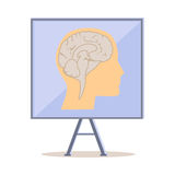 Board with Human Head Silhouette And Brain Vector Royalty Free Stock Images