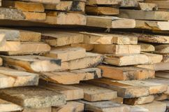 Boards for construction, close up. Board inch in the pile, close-up Royalty Free Stock Photography
