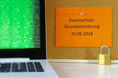 Board with the inscription DSGVO General Data Protection Regulation in English GDPR General Data Protection Regulation with a royalty free stock images